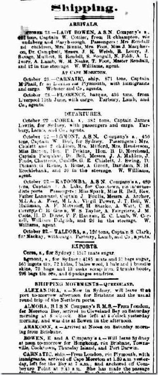 mrs k shippingarticle911732-4-001The Brisbane Courier, Monday 24 October 1881, page 2