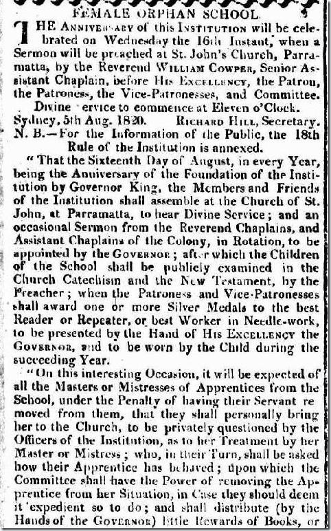ORPHAN SCHOOL The Sydney Gazette and New South Wales Advertiser, Saturday 5 August 1820, page 2article2179652-3-001