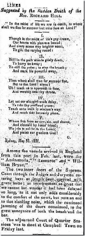 POEM RE HILL article2204703-3-001The Sydney Gazette and New South Wales Advertiser, Tuesday 7 June 1836, page 3