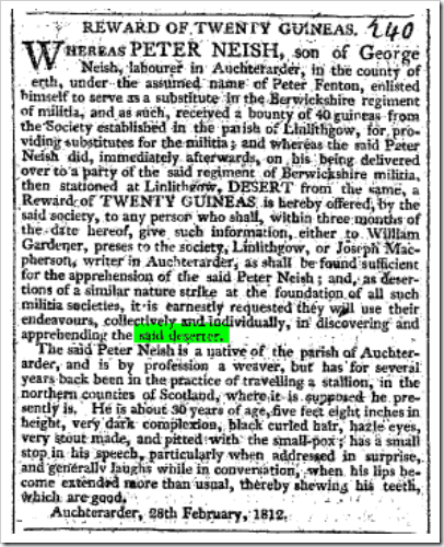 desertionCaledonian Mercury (Edinburgh, Scotland), Monday, April 13, 1812 Issue 14090desertion