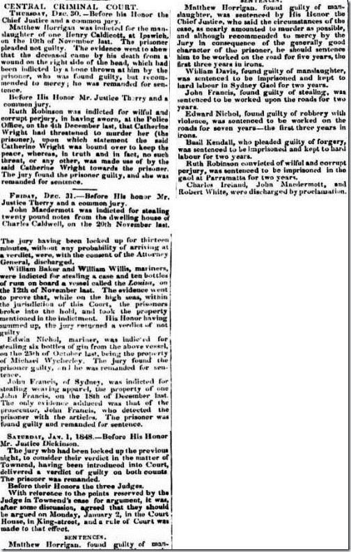 BASIL SENTENCE The Australian (Sydney, NSW 1824-1848), Tuesday 4 January 1848,