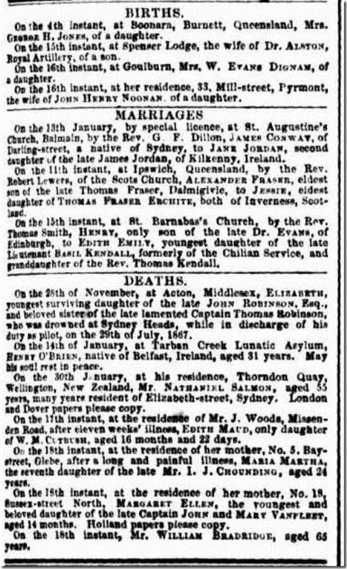 EMILYS MARRIAGE The Sydney Morning Herald (NSW 1842-1954), Wednesday 19 February 1868,